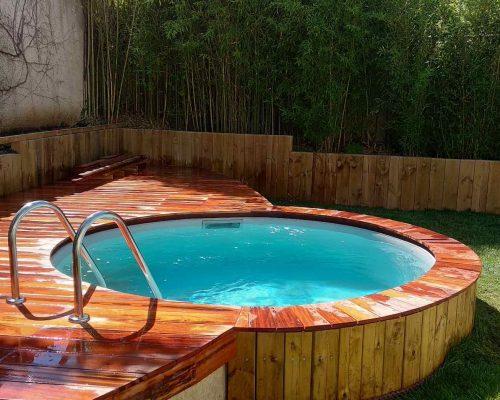 réalisation terrasse bois paysagiste ouest lyonnais création jardin Chaponost